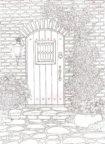 garden door colouring page coloring pages  adults