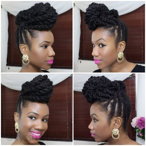 natural hairstyles using marley hair braided updo on natural hair using marley hair kyss my