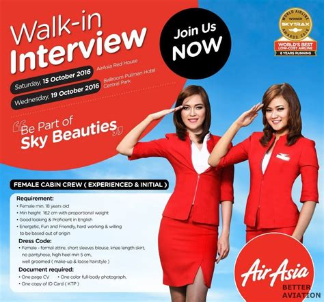 airasia redhouse indonesia airasia cabin crew walk in interview october