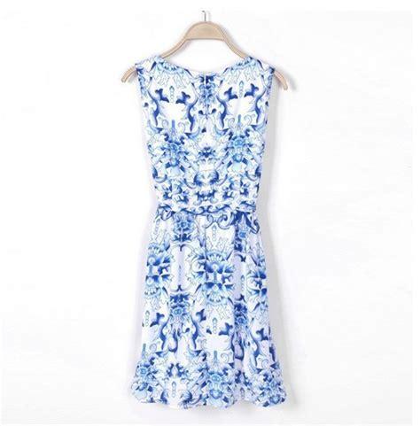 Dress Blue Porcelain Maeve Evaline Branded new fashion blue porcelain print