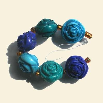 Blue Turquoise Glass Bead String 16mm Retail