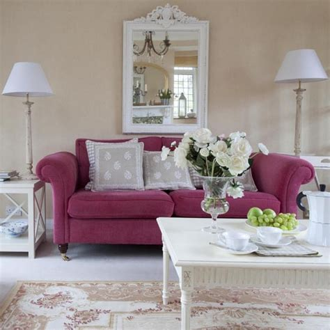 pink couches living room living room sofa detail real homes 1930s surrey house housetohome co uk
