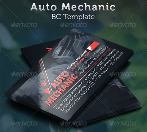 card template mechanic mechanic business cards 20 best automotive business card