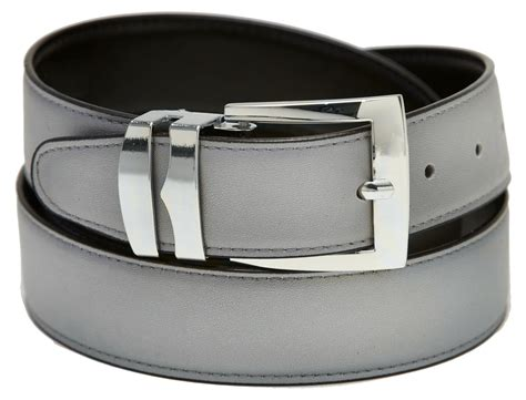 s belt reversible wide bonded leather silver tone