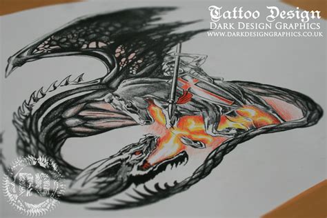 st george tattoo a realistic drawing dark design