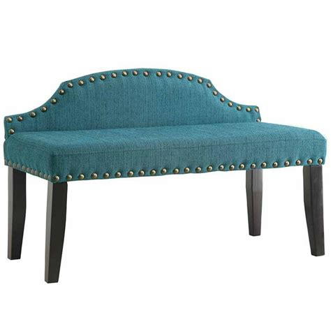 teal bench teal fabric nailhead trim bench everything turquoise