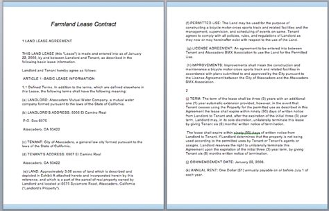commercial lease contract template  template downloads