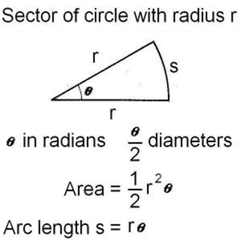 area of a section of a circle formula sector of circle