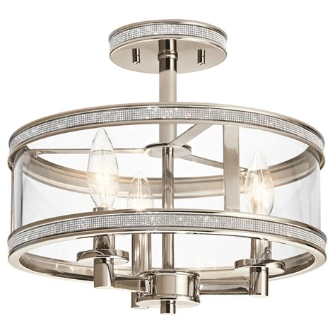 polished nickel flush mount ceiling light shop kichler angelica 13 in w polished nickel clear glass