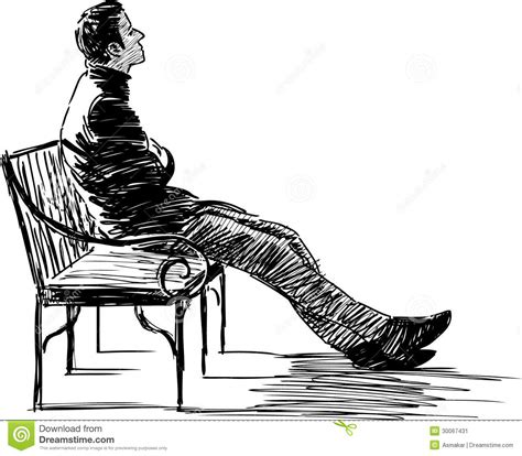 how to draw people sitting on a bench expectation stock image image 30067431