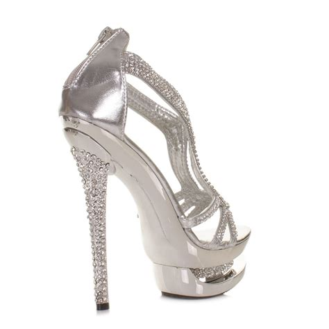 silver high heel shoes for prom womens platform high heel diamante silver metallic strappy