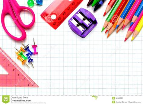 3d Graphing school supplies corner border stock photo image 42680002