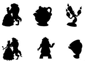 beauty and the beast silhouettes edible * a4 icing sheet