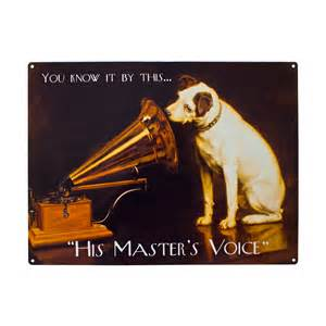 Unique gift shop london his master s voice metal sign plaque