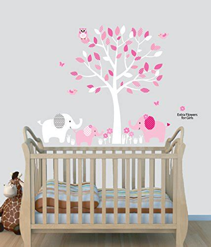 Nursery Decals And More Elephant Nursery Tree Decal Pink Pink Wall Decals For Nursery