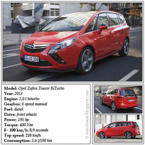 opel zafira fuel consumption auto data sheets opel zafira tourer biturbo 2013