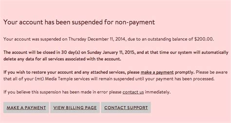 Service Suspension Letter Why Is My Account Suspended Media Temple