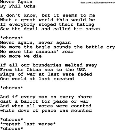 phil ochs song never again phil ochs lyrics