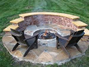 fire pit bench cushions brick firepit outside photo
