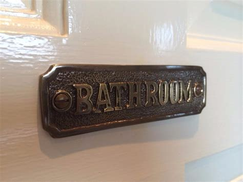 antique bathroom sign toilet bathroom door sign plaque with screws solid