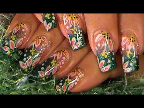 tropical flowers green pink ombre gradient nail art