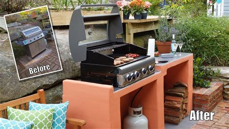 how to build a backyard bbq bbq area makeover how to build a block bbq youtube