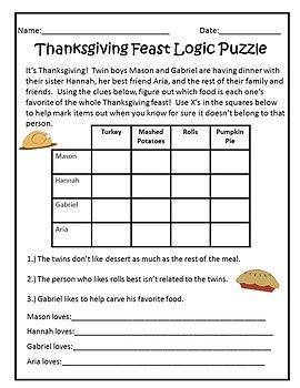 printable thanksgiving logic puzzles thanksgiving logic puzzle 100 images math logic