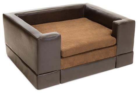 Rover Chocolate Brown Leather Dog Sofa Bed Contemporary