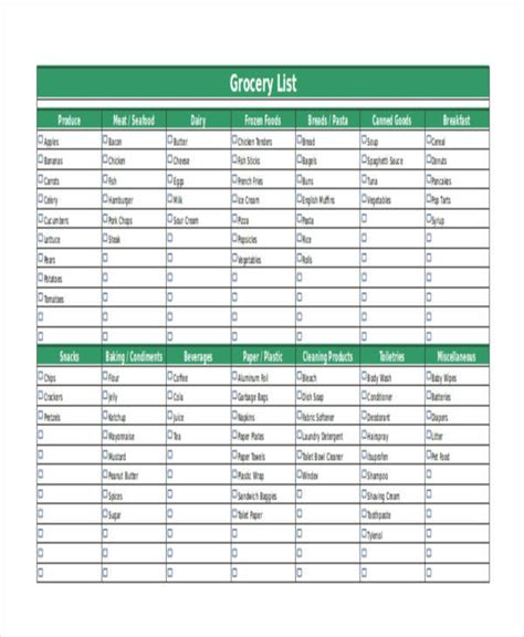 simple grocery list template 61 printable list template