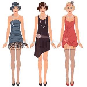 Three young flapper women of 1920s stock vector