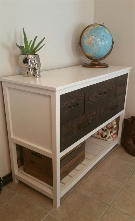 ana white console table with drawers reclaimed wood drawer face white distressed console two