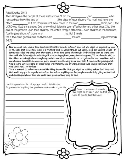 Free Printable Bible Worksheets For Youth by Daily Devotional On The Ten Commandments Ideal For 4th