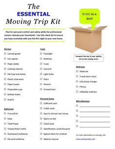 New House Essentials use this check list when moving to make sure you have all