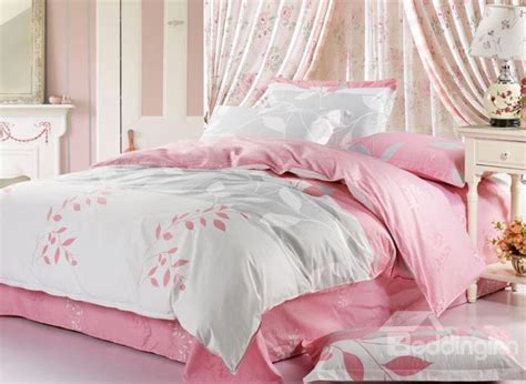 pink and white bedding fantastic white and pink with graceful leaves 4 piece