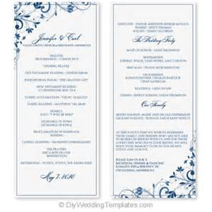 Wedding Programs Catholic Mass Wedding Program Template Instant Download Edit Yourself Chic Bouquet Navy Tea Length