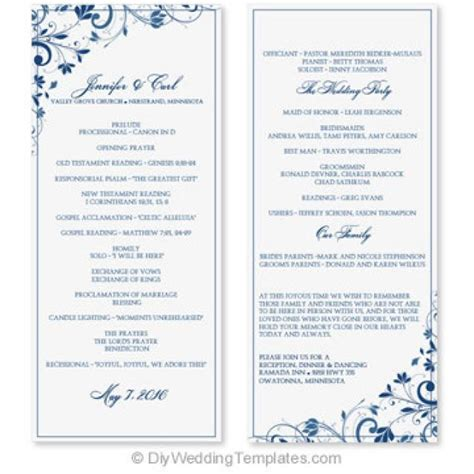 Wedding Program Template Instant Download Edit Yourself Chic Bouquet Navy Tea Length Microsoft Word Wedding Program Template