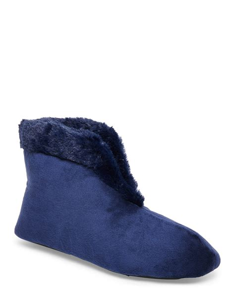 bootie slippers dearfoams velour bootie slippers box set in blue lyst