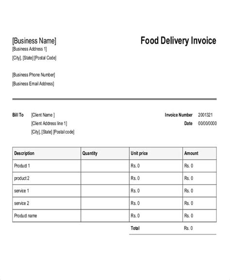 delivery invoice templates 4 free word pdf format