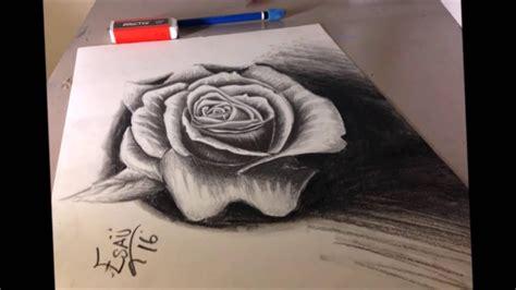 imagenes de rosas en 3d a lapiz rosa a 3d dibujos 3d rosas a lapiz youtube