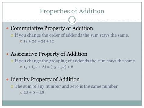 the property of a properties of addition and multiplication