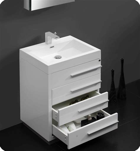 "23.5"" Fresca Livello (FVN8024WH) White Modern Bathroom"