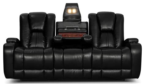 Black Leather Reclining Sofa Zander Bonded Leather Power Reclining Sofa Black The Brick