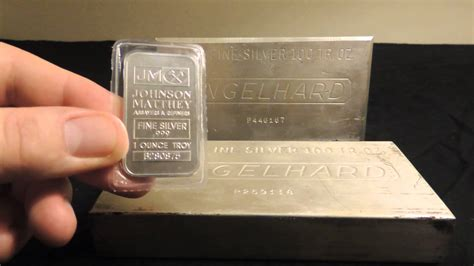 1 Ounce Silver Bar Size by 100 Oz Engelhard Silver Bars
