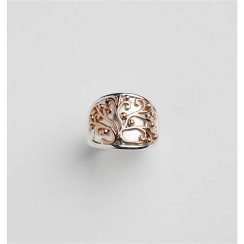 sterling silver and copper oak tree ring from katherine