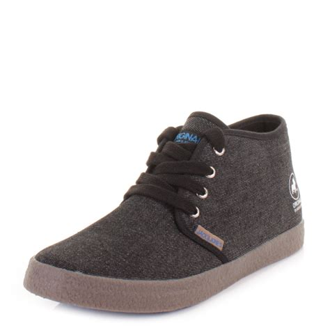 mens canvas ankle boots mens jones oslo black grey canvas lace up casual