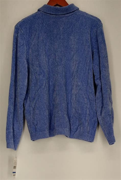 alfred dunner sweater xl cable cardigan sweater light blue new