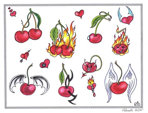 cherry skull tattoo designs cherries flash by tattoosavage on deviantart