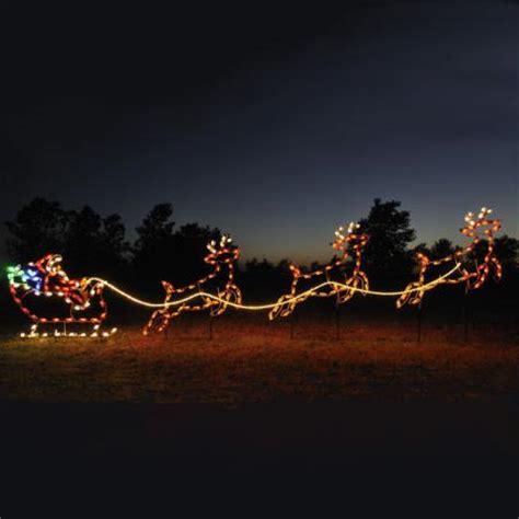 santa sleigh reindeer light display santa sleigh yard