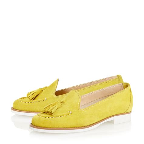 yellow loafers dune galileo suede tassel loafer in yellow lyst
