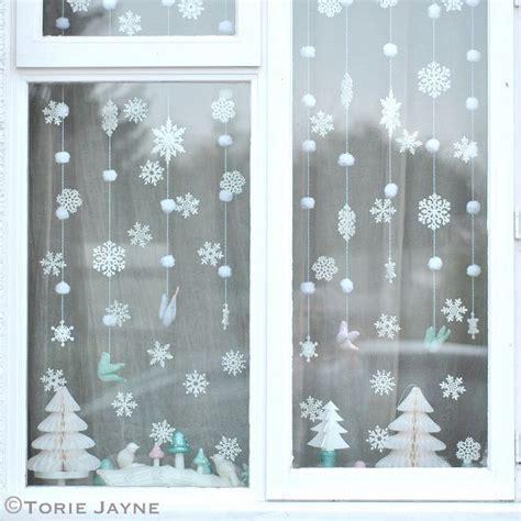 winter window decorations winter window snowflakes and pom